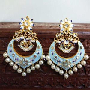 Light Blue Meenakari Chandbali Earrings