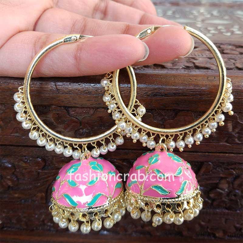 Light Pink Jhumka Hoop Earring