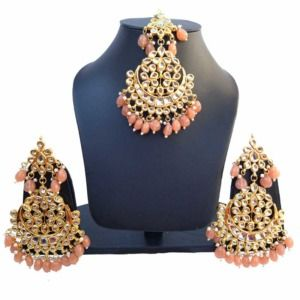 Peach Color Heavy Earrings with Maang Tikka for Wedding