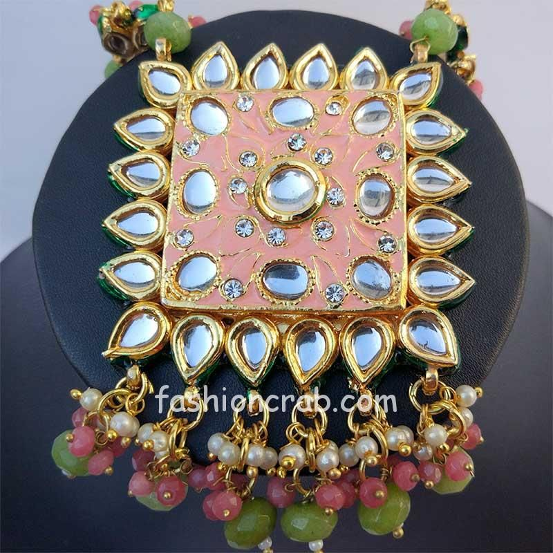 Peach Color Kundan Meenakari Necklace Set
