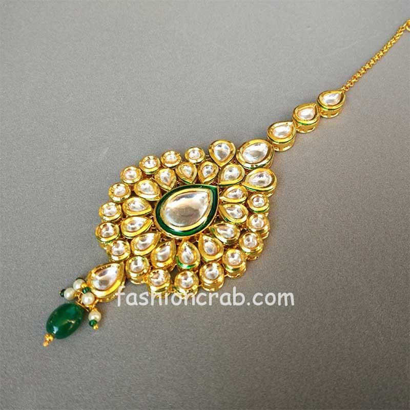 Pearl Kundan Stone Maang Tikka for Wedding