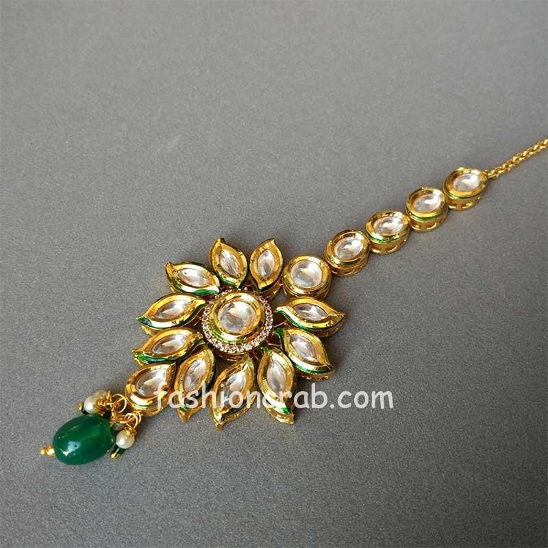 Pearl Kundan Studded Maang Tika for Women