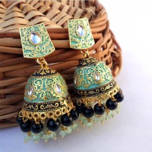 Sea Green Jhumka with Black Pearl for Saree