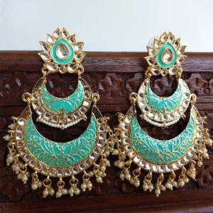 Seafoam Green Enamel Kundan Chandbali Earrings for Wedding