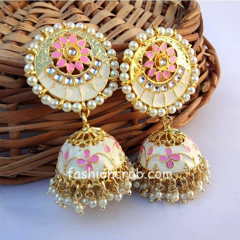 White Enamel Jhumka Earring for Women