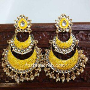 Yellow Enamel Kundan Chandbali Earrings for Wedding