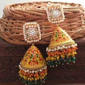 Yellow Meenakari Jhumka Layered Pearl Earring for Wedding