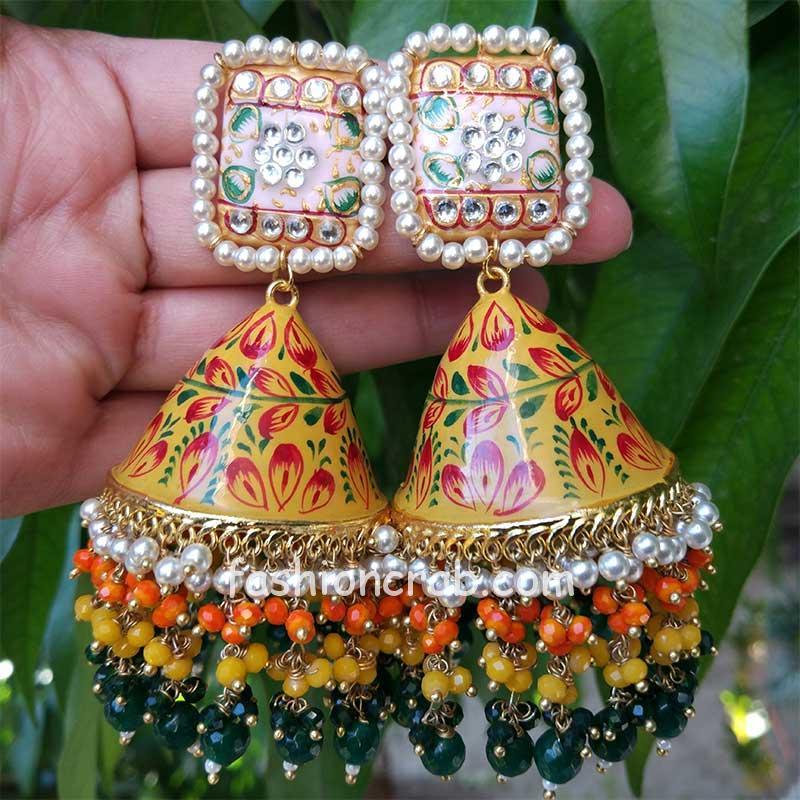Yellow Meenakari Jhumka Layered Pearl Earring