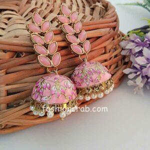 Cherry Pink Enamel Fusion Jhumka Earring