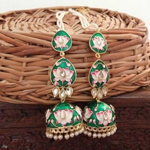 Dark Green Meenakari Layered Jhumka Earrings for Sangeet