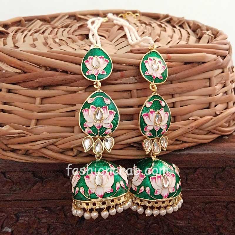 Dark Green Meenakari Layered Jhumka Earrings for Sangeet