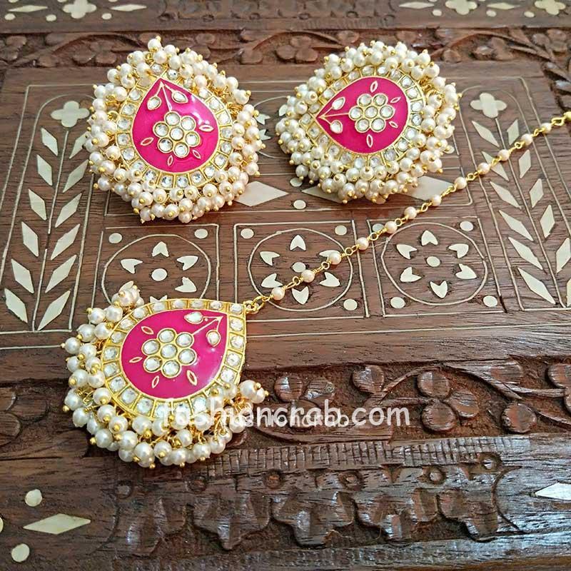 Dark Pink Meenakari Earrings with Tikka for Wedding