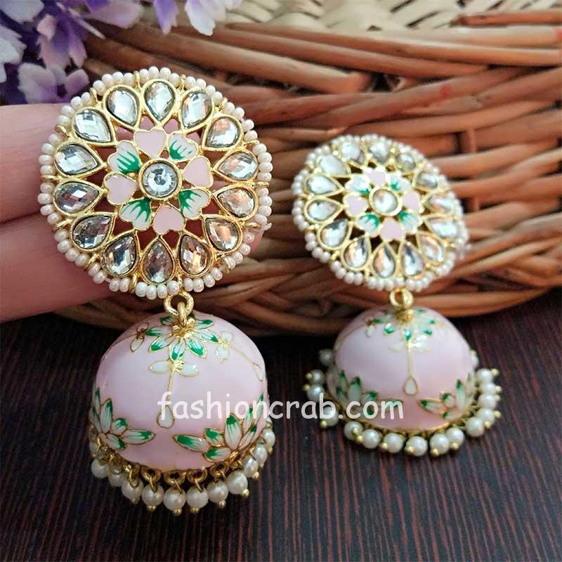 Floral Hand Painted Meenakari Light Pink Jhumka Earring for Women