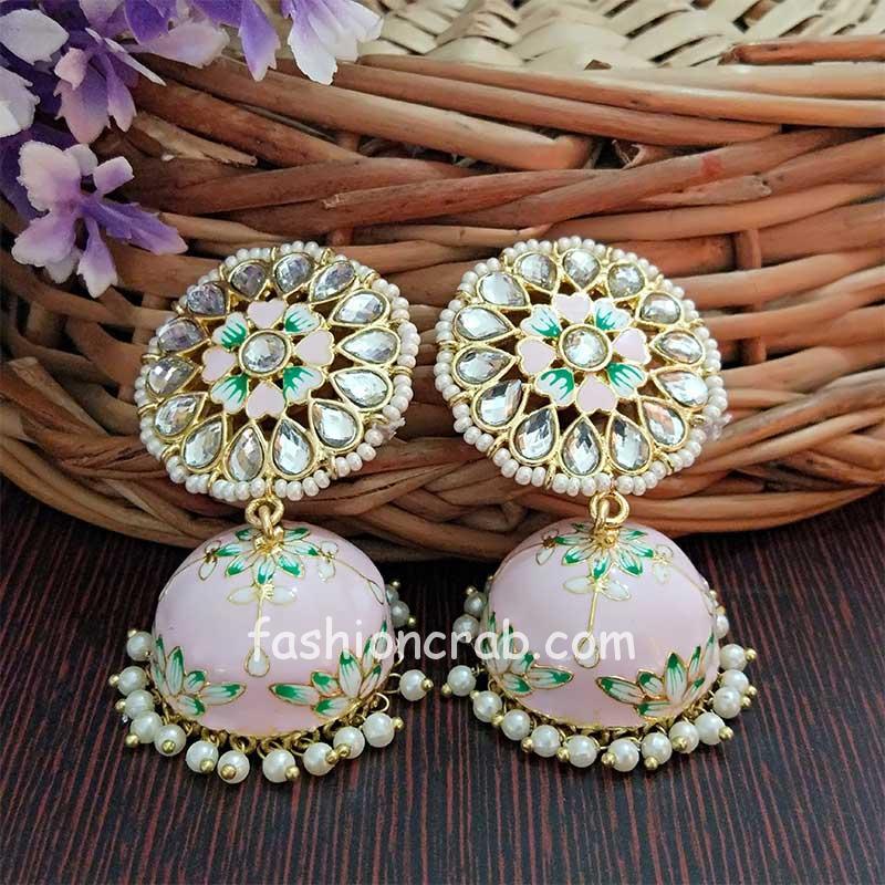 Floral Hand Painted Meenakari Light Pink Jhumka Earring Online