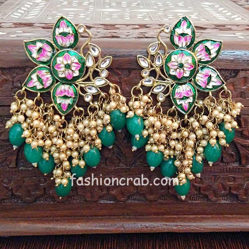 Green Color Enamel Pearl Embellished Chandbali Earring