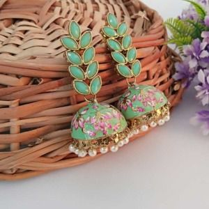 Green Enamel Fusion Jhumka Earring for Party