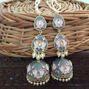 Grey Meenakari Layered Jhumka Earrings for Sangeet
