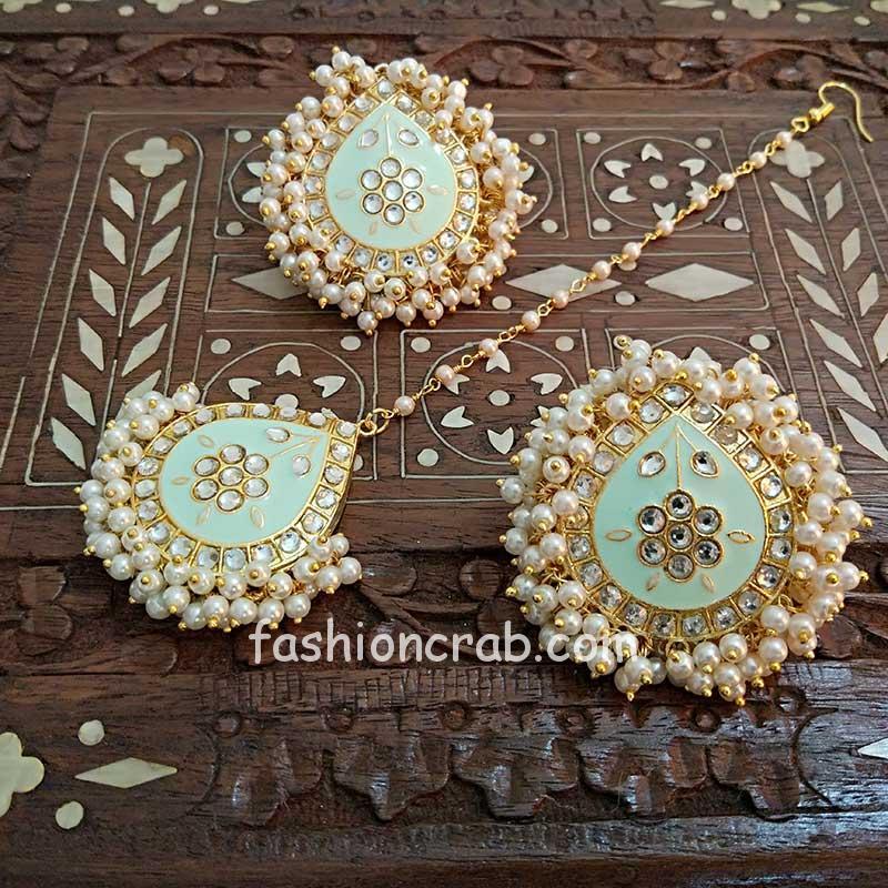 Light Mint Green Meenakari Earrings with Tikka for Wedding