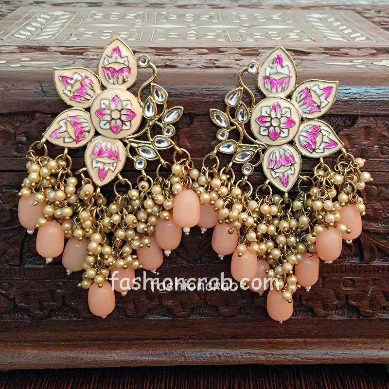 Light Orange Color Enamel Pearl Embellished Chandbali Earring