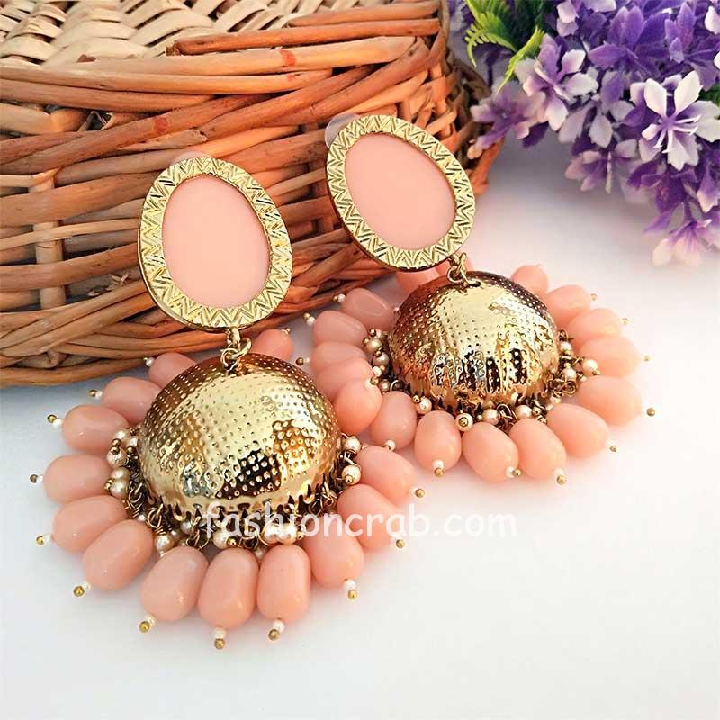 Light Peach Pearl Earrings for Saree