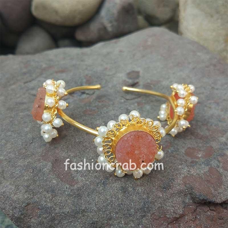 Peach Color Druzy Stone Bracelet for Party