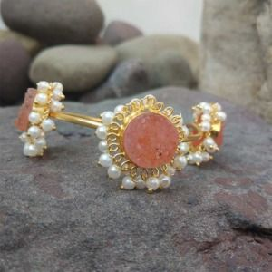 Peach Color Druzy Stone Bracelet