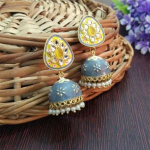 Small Grey Meenakari Jhumka Earring