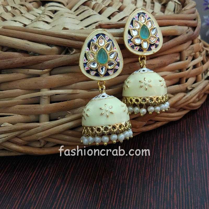 Small Light Pista Green Meenakari Jhumka Earring