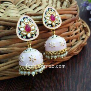 Small Pink Beige Meenakari Jhumka Earring