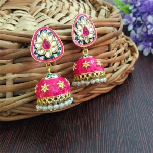 Small Pink Meenakari Jhumka Earring