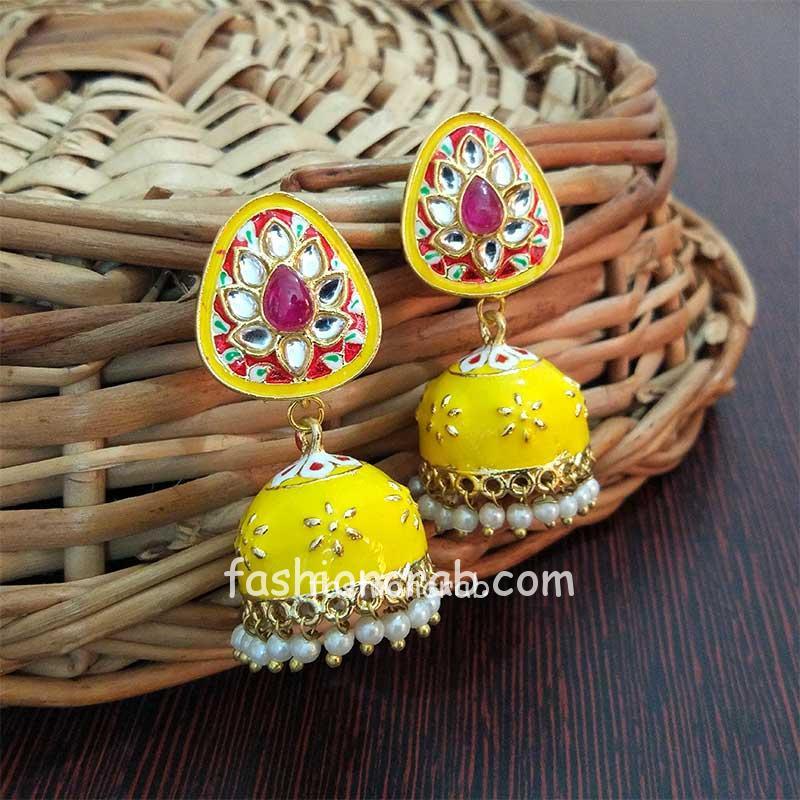 Small Yellow Meenakari Jhumka Earring