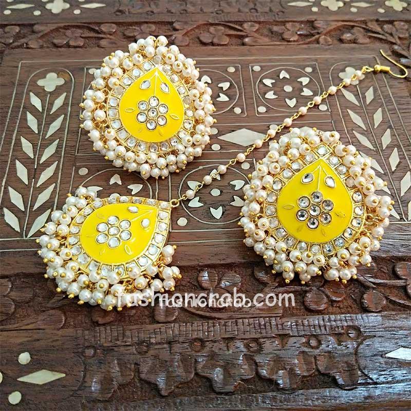 Yellow Meenakari Earrings with Tikka for Wedding