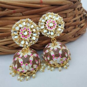 Bollywood Style Meenakari Brown Jhumka Earring
