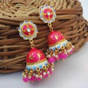 Dark Pink Jhumka Earrings for Saree