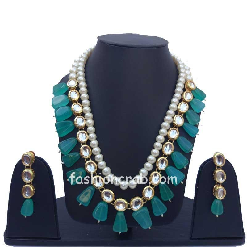 Green Pearl Kundan Necklace Set for Wedding