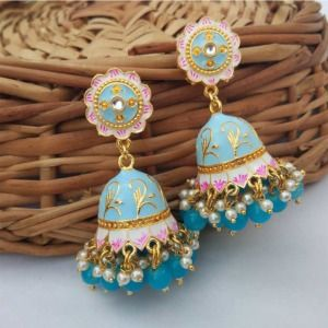 Light Blue Jhumka Earrings for Saree
