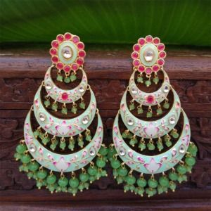 Light Green Chandbali Earrings with Pearls