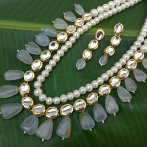 Light Grey Pearl Kundan Necklace Set for Wedding