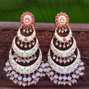 Light Pink Chandbali Earrings with Pearls