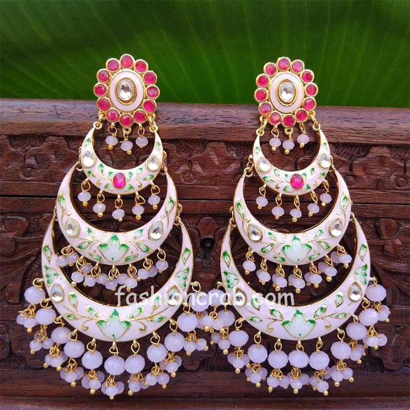 Light Pink Chandbali Earrings with Pearls