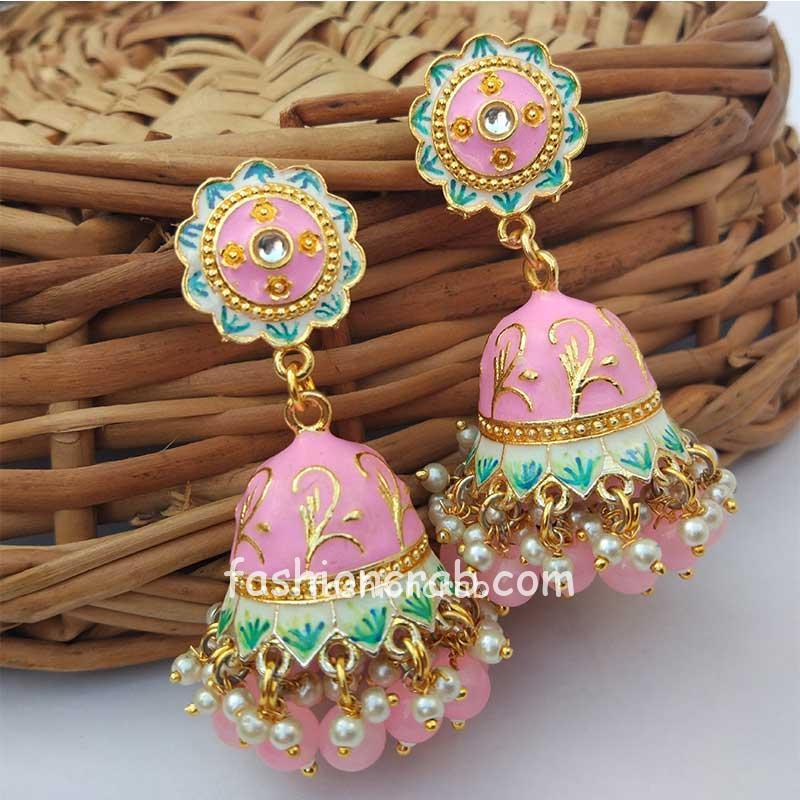 Light Pink Jhumka Earrings for Saree