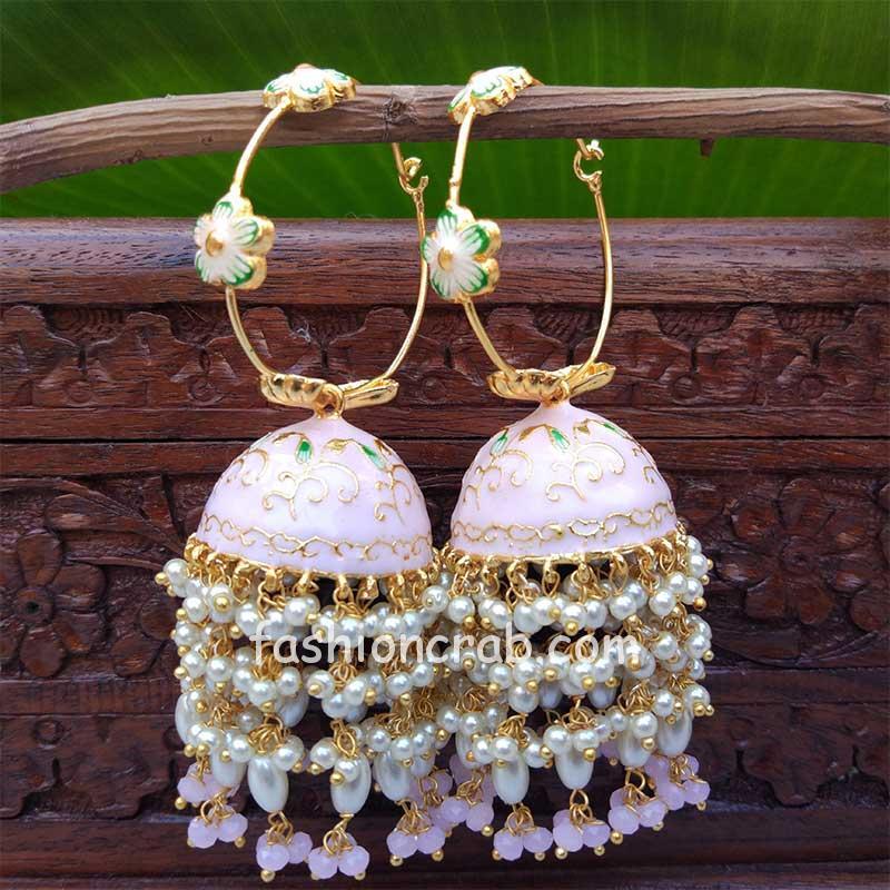 Light Pink Meenakari Pearl Jhumka Earrings for Wedding
