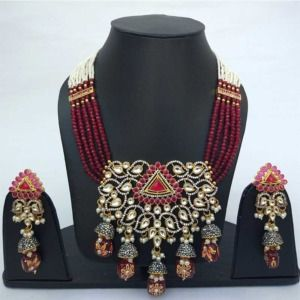 Maroon Colour Bridal Jewellery Set for Wedding