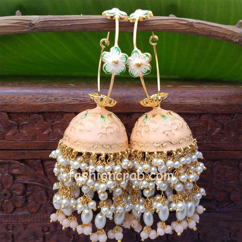 Peach Meenakari Pearl Jhumka Earrings for Wedding