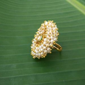 Pearl and Kundan Traditional Finger Ring for Wedding