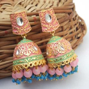 Pink Jhumka with Blue Pearl for Saree