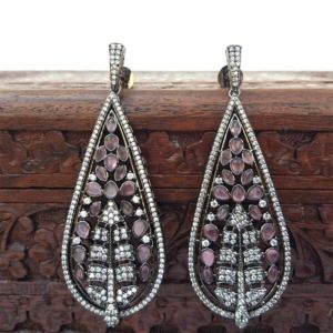 Pink Stone American Diamond Earrings for Party