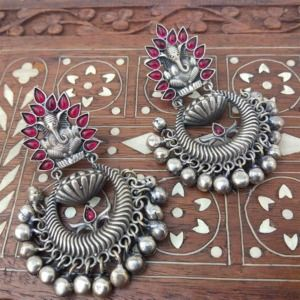 Pink Stone Oxidised Ganesh Earrings for Kurti