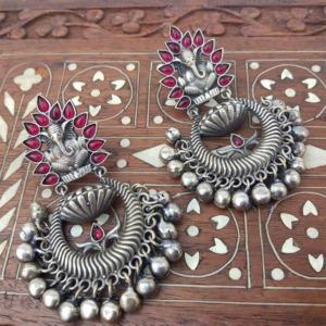 Pink Stone Oxidised Ganesh Earrings for Kurti