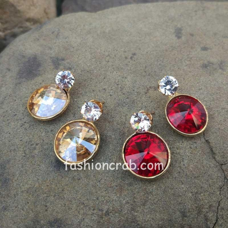 Red and Golden Color Combo of 2 Earrings